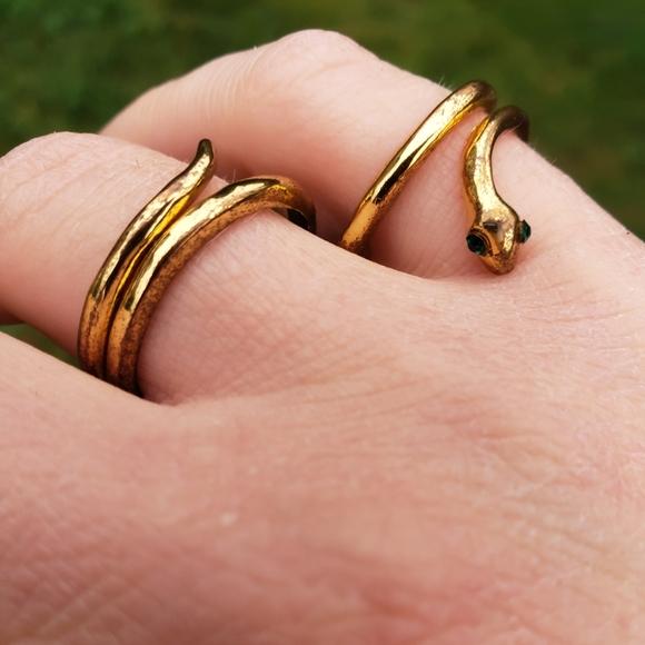 Vintage Gold Snake Two Finger Ring